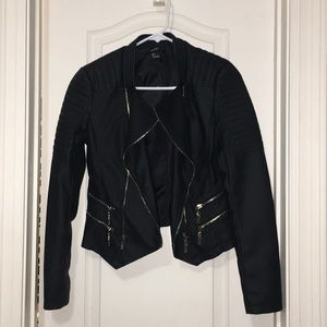Faux black leather jacket with gold accents